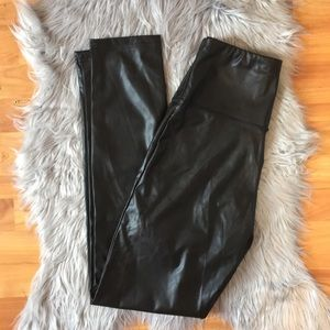 NWT black metallic leather leggings